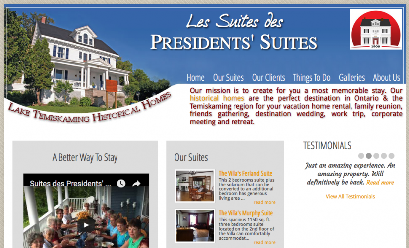 Presidents' Suites first web site back in 2010. / Premier site web des Suites des Présidents.