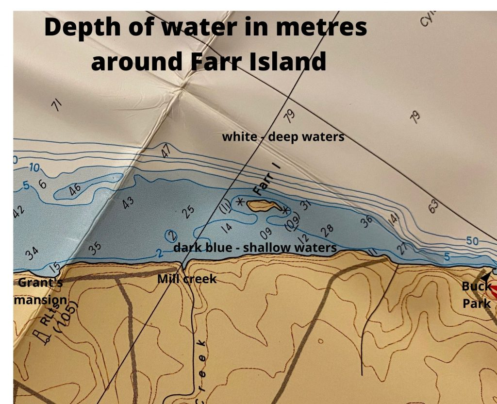 Profondeurs du lac Temiskaming autour de l'île Farr