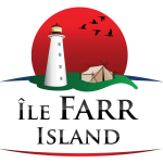 Farr Island logo. The Lake Temiskaming Island is owned by the Presidents' Suites / Le logo de l'ïle Farr. L'île située sur le lac Témiskaming est appartenue apr les Suites des Présidents