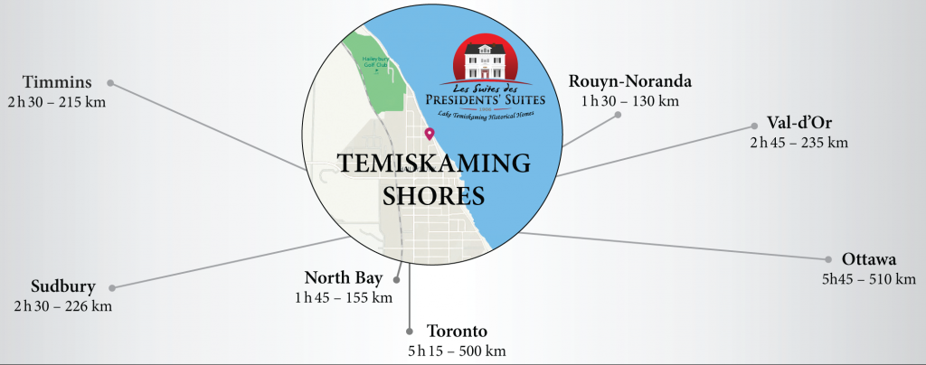 Map of Temiskaming Shores as a regional hub for Northern-eastern Ontario / Carte de Temiskaming Shores comme carrefour régional du nord-est de l'Ontario