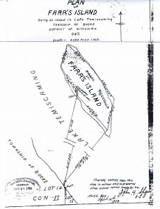 Plan of Farr Island - original survey don in April of 1904 by John Shaw. Survey was done on the ice and was probably done in anticipation of the purchase by the Farr Family. / le plan d'arpentage de l'île Farr produit en avril 1904.