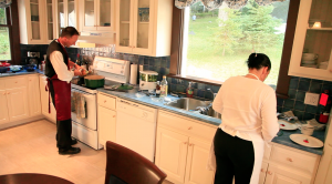 Food preparation in the Ferland Suite Kitchen
