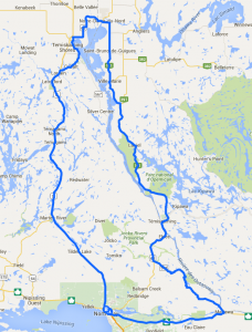 Map of the Lake Temiskaming loop tour / Carte du tour du lac Témiskaming.