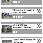 Les différentes tournées disponibles sur l'application des circuits interactifs du Témiskaming sur un téléphone intelligent