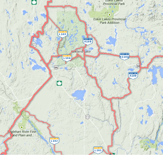Kirkland Lake Area Map Snowmobile Trails / Carte des sentiers de motoneige de la région de Kirkland Lake