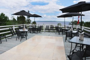 Haileybury golf club club house with large patio overlooking lake Temiskaming