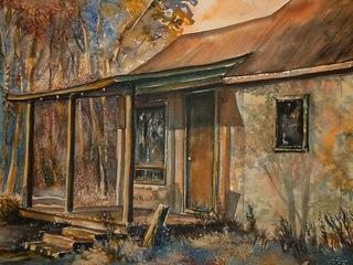 Twilight Isle Cabin Watercolour by Laura Landers / Aquarelle de Laura Landers