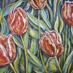 Tulip Fantasy - Mixed media (acrylic/pastel) by Laura Landers