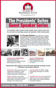 Dr. Douglas Baldwin Guest Speaker Series by the Presidents' Suites / Conférenciers des Suites des Présidents