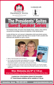 Lucinda Hage presenter at the Presidents' Suites Guest Speaker Series / Conférencière aux Suites des Présidents