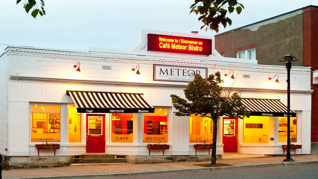 Café Meteor Bistro is located at 485 Ferguson Avenue downtown Haileybury. It offers local comfort food, great specialty coffees and a nice selection of craft beers and VQA wines