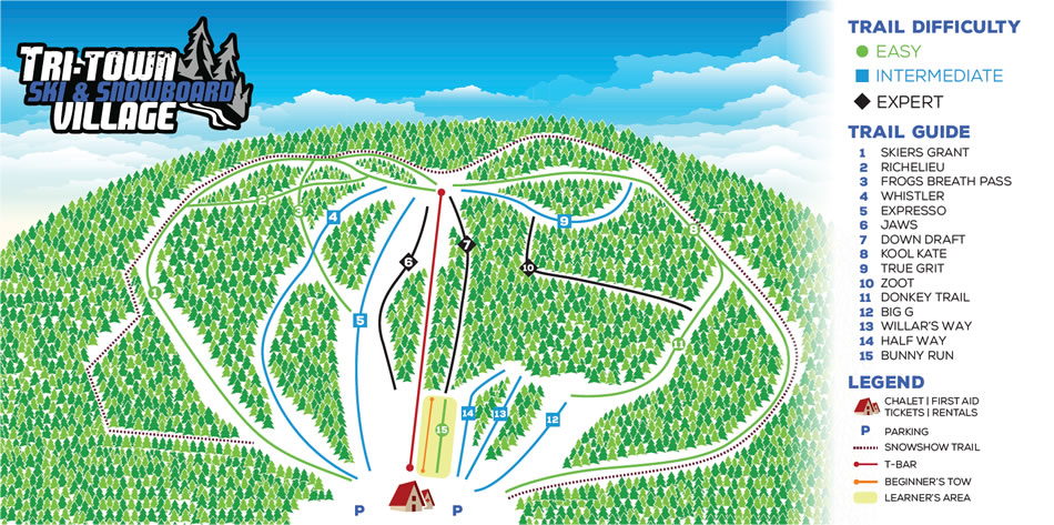 Sentiers de ski au Tri-Town Ski and Snowboard Village idéal pour votre forfait hiver en famille