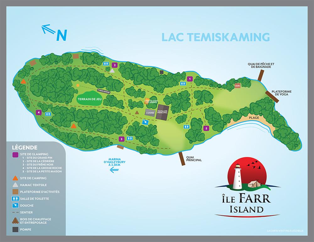 Carte détaillée de la station de glamping sur l'île Farr