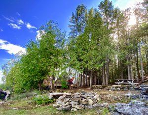 Vue du site de la tente de la cédrière à lîle Farr sur le lac Temiskaming